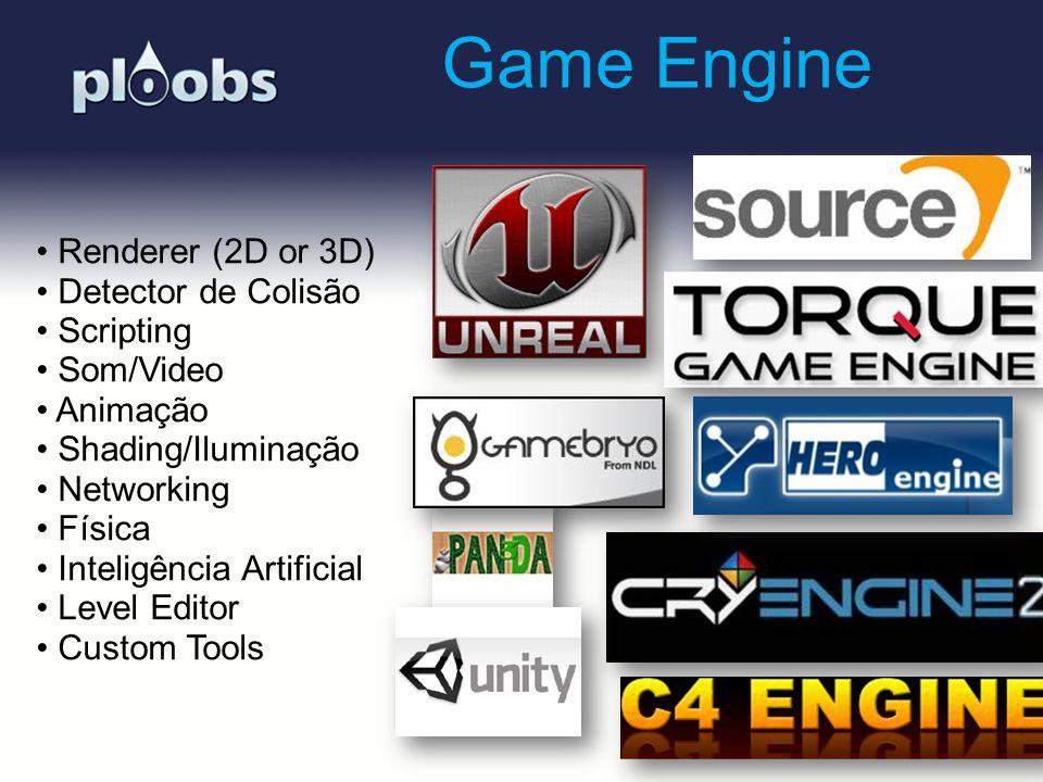 Page 4 Game Engine Renderer (2D or 3D) Detector de Colisão Scripting Som/Video Animação Shading/Iluminação Networking Física Inteligência Artificial L