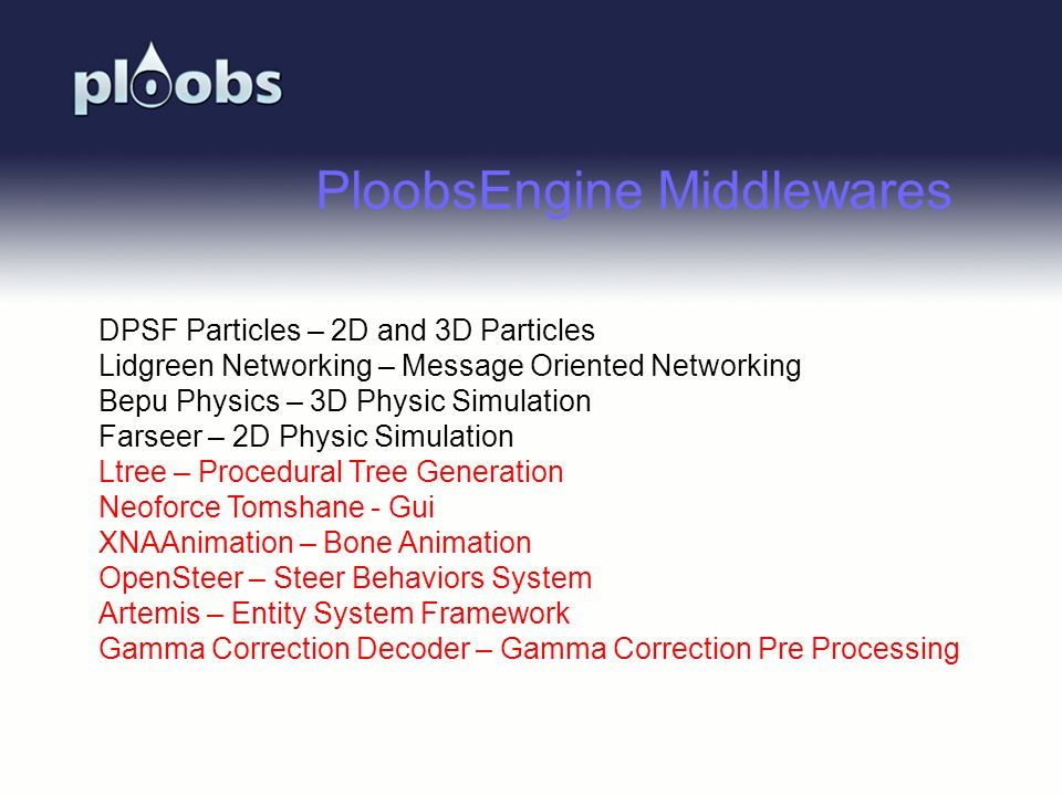 Page 47 PloobsEngine Middlewares DPSF Particles – 2D and 3D Particles Lidgreen Networking – Message Oriented Networking Bepu Physics – 3D Physic Simul