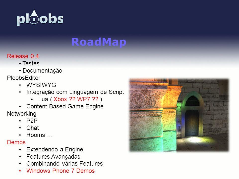 Page 50 RoadMap Release 0.4 Testes Documentação PloobsEditor WYSIWYG Integração com Linguagem de Script Lua ( Xbox ?? WP7 ?? ) Content Based Game Engi