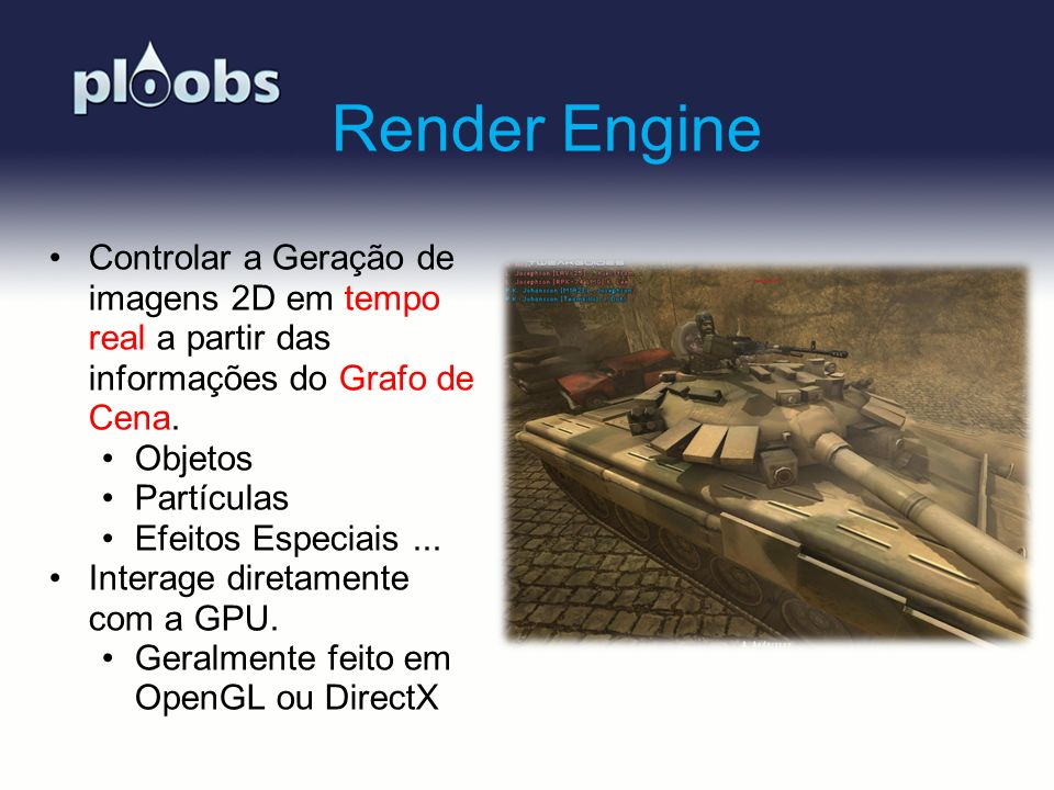 Page 37 PloobsEngine PloobsEngine is an opensource engine for creating games and graphics applications developed in: XNA 4.0, C#.Net 4.0 HLSL.