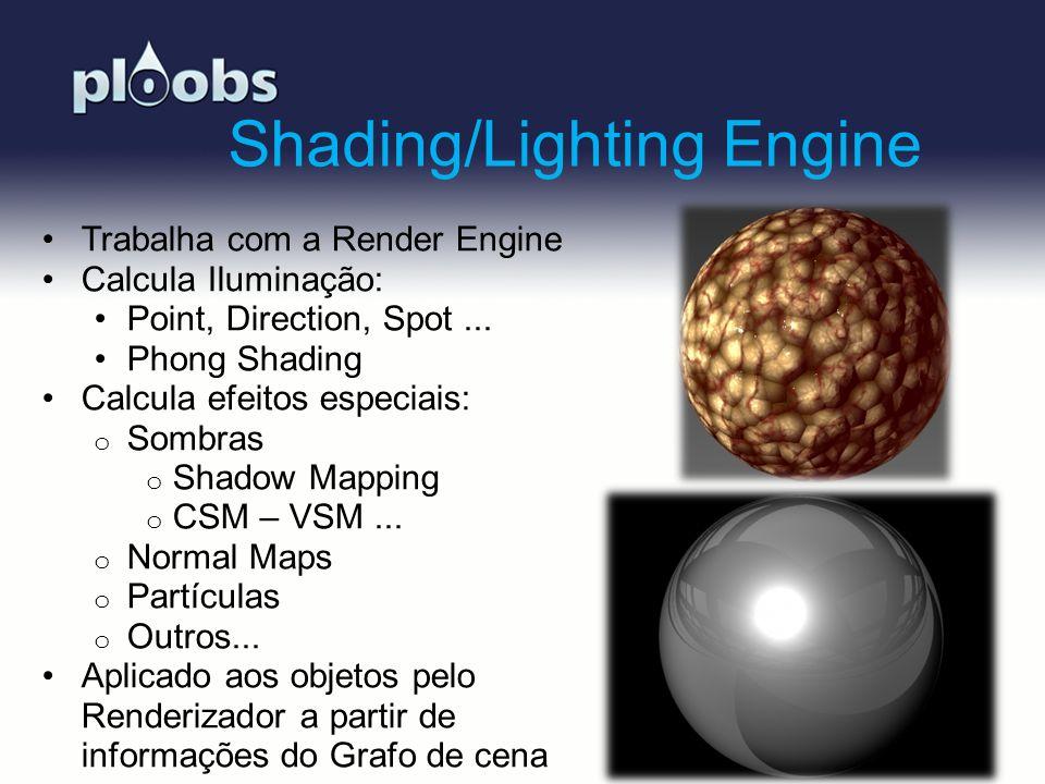 Page 7 Shading/Lighting Engine Trabalha com a Render Engine Calcula Iluminação: Point, Direction, Spot... Phong Shading Calcula efeitos especiais: o S