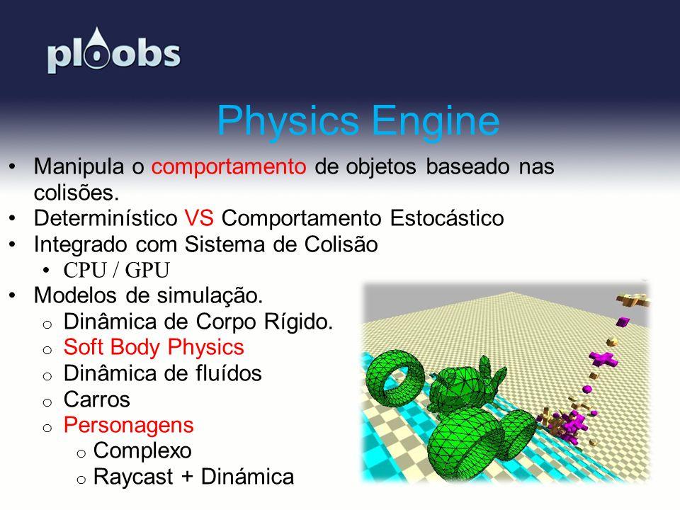 Page 9 Physics Engine Manipula o comportamento de objetos baseado nas colisões. Determinístico VS Comportamento Estocástico Integrado com Sistema de C