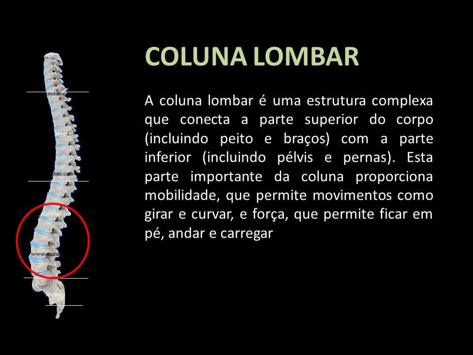 COLUNA LOMBAR A coluna lombar é uma estrutura complexa que conecta a parte superior do corpo (incluindo peito e braços) com a parte inferior (incluind