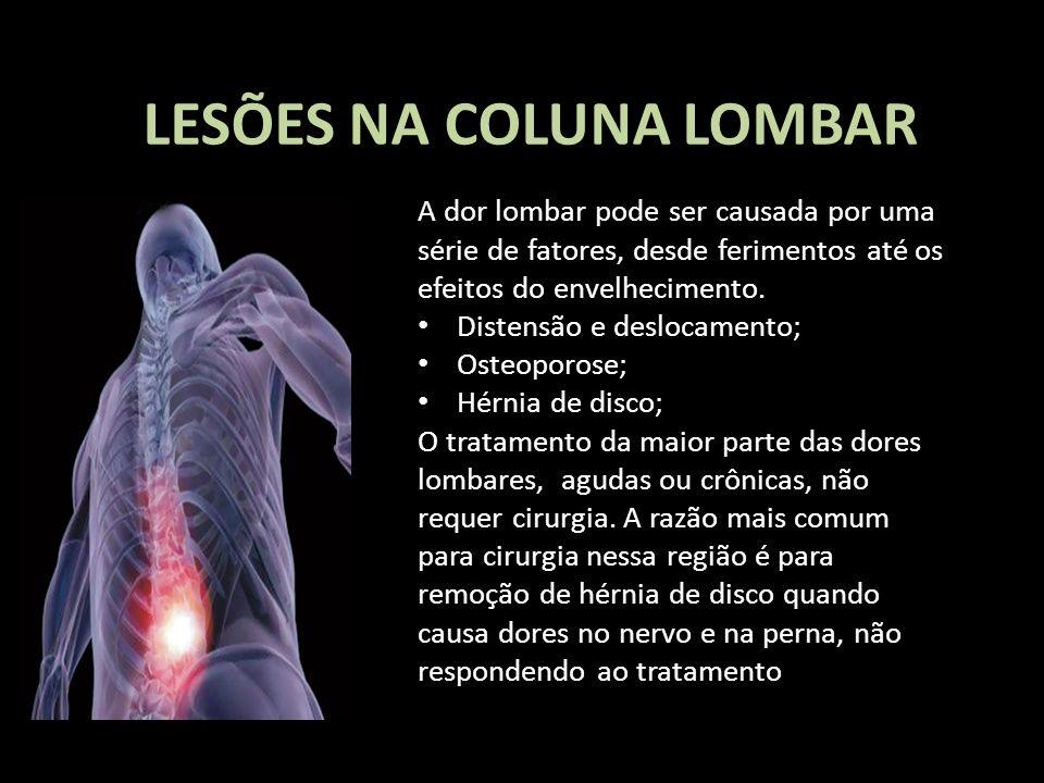 LESÕES NA COLUNA LOMBAR A dor lombar pode ser causada por uma série de fatores, desde ferimentos até os efeitos do envelhecimento. Distensão e desloca