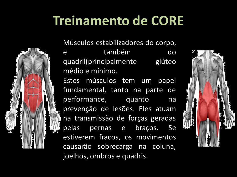 Treinamento de CORE Músculos estabilizadores do corpo, e também do quadril(principalmente glúteo médio e mínimo. Estes músculos tem um papel fundament