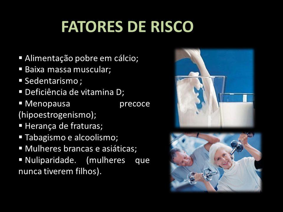 FATORES DE RISCO I Love you more and more Alimentação pobre em cálcio; Baixa massa muscular; Sedentarismo ; Deficiência de vitamina D; Menopausa preco
