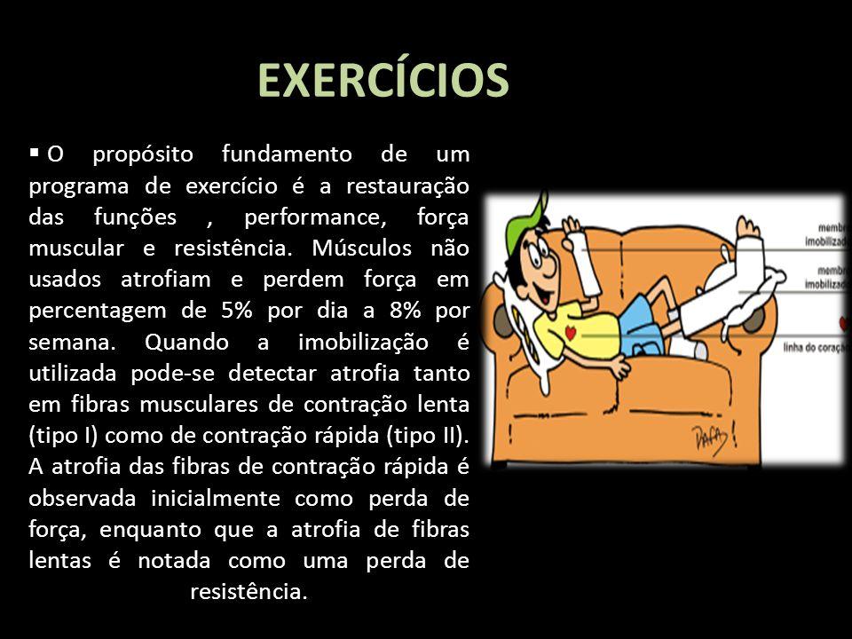 EXERCÍCIOS I Love you more and more O propósito fundamento de um programa de exercício é a restauração das funções, performance, força muscular e resi