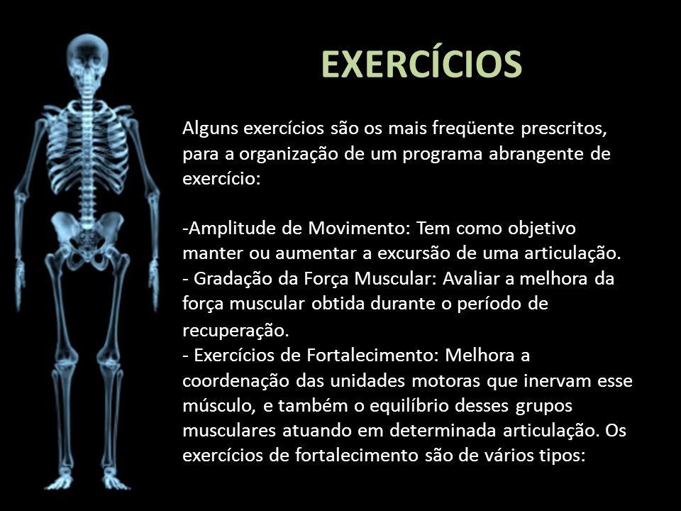 EXERCÍCIOS Alguns exercícios são os mais freqüente prescritos, para a organização de um programa abrangente de exercício: -Amplitude de Movimento: Tem