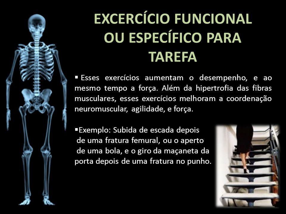 EXCERCÍCIO FUNCIONAL OU ESPECÍFICO PARA TAREFA Esses exercícios aumentam o desempenho, e ao mesmo tempo a força. Além da hipertrofia das fibras muscul