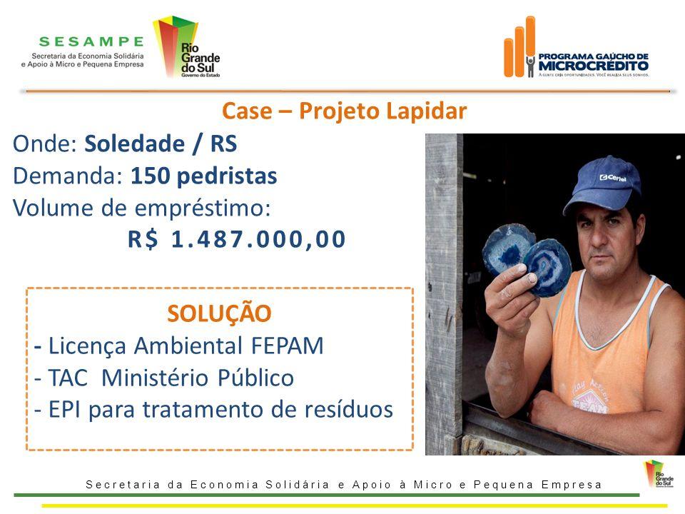 Case – Projeto Lapidar Secretaria da Economia Solidária e Apoio à Micro e Pequena Empresa Onde: Soledade / RS Demanda: 150 pedristas Volume de emprést