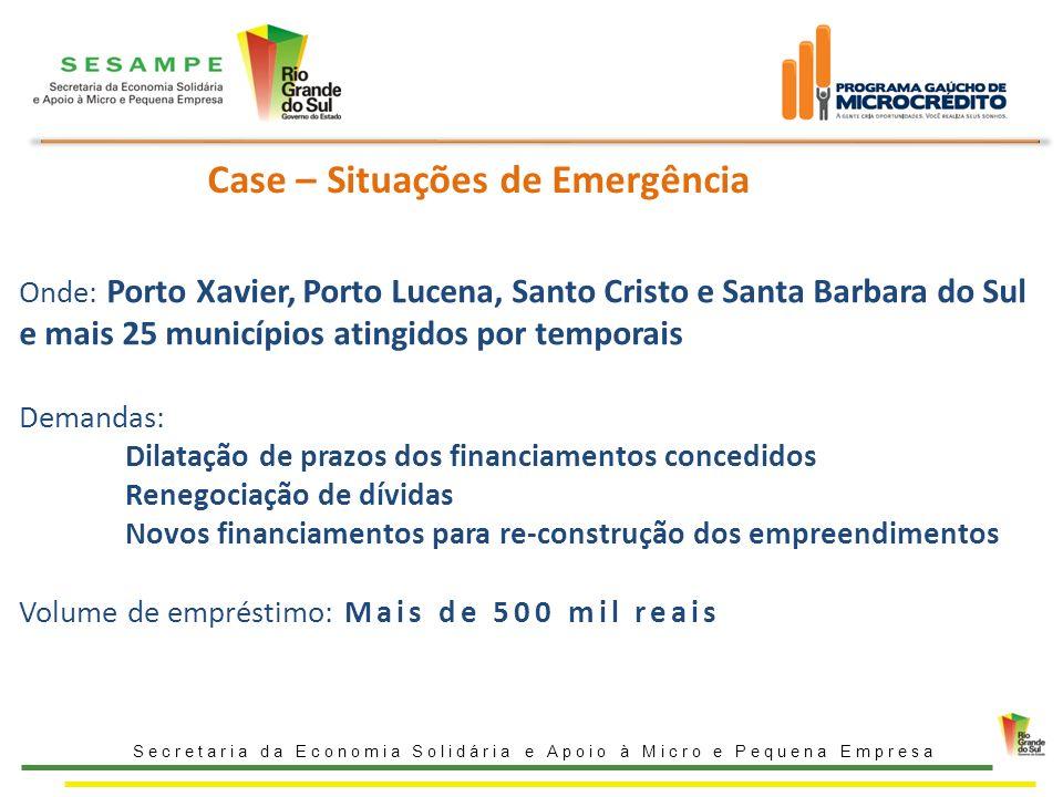 Case – Situações de Emergência Onde: Porto Xavier, Porto Lucena, Santo Cristo e Santa Barbara do Sul e mais 25 municípios atingidos por temporais Dema