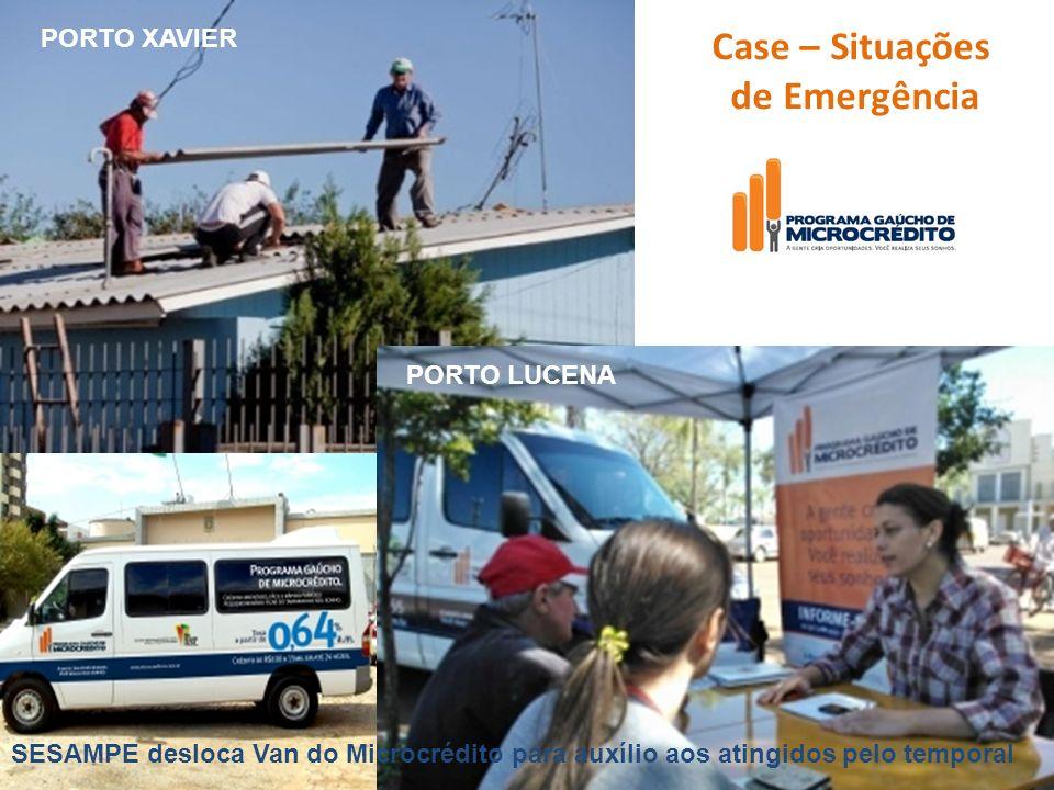 Case – Situações de Emergência PORTO LUCENA PORTO XAVIER SESAMPE desloca Van do Microcrédito para auxílio aos atingidos pelo temporal