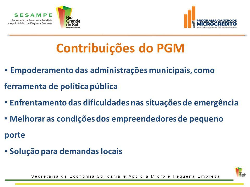 Contribuições do PGM Secretaria da Economia Solidária e Apoio à Micro e Pequena Empresa Empoderamento das administrações municipais, como ferramenta d