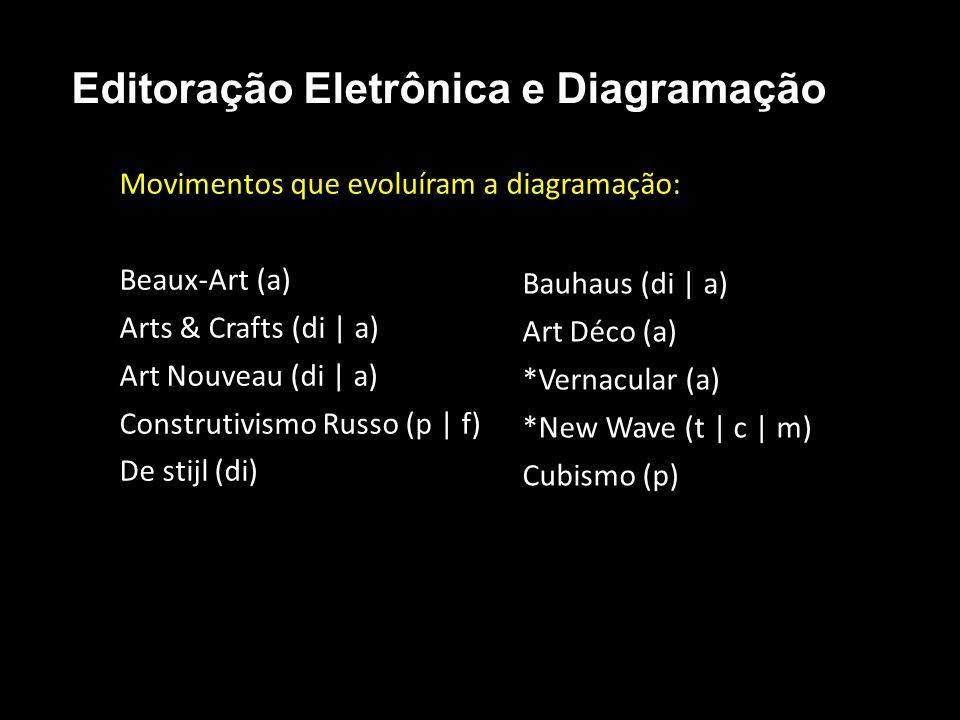 Editoração Eletrônica e Diagramação Movimentos que evoluíram a diagramação: Beaux-Art (a) Arts & Crafts (di | a) Art Nouveau (di | a) Construtivismo R