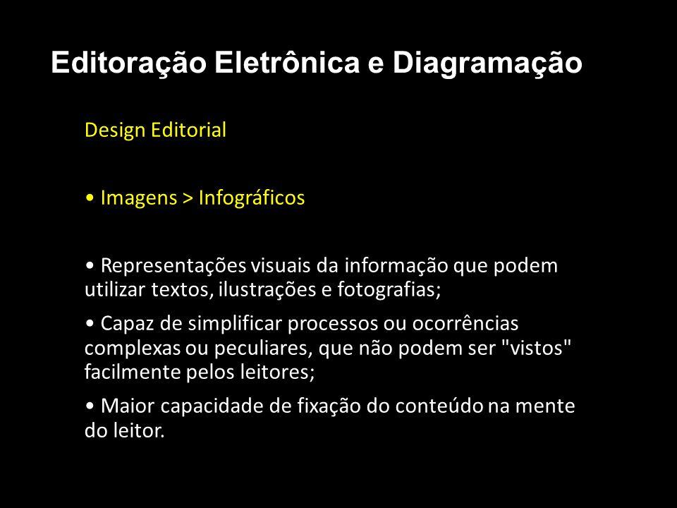 Editoração Eletrônica e Diagramação Design Editorial Imagens > Infográficos Representações visuais da informação que podem utilizar textos, ilustraçõe