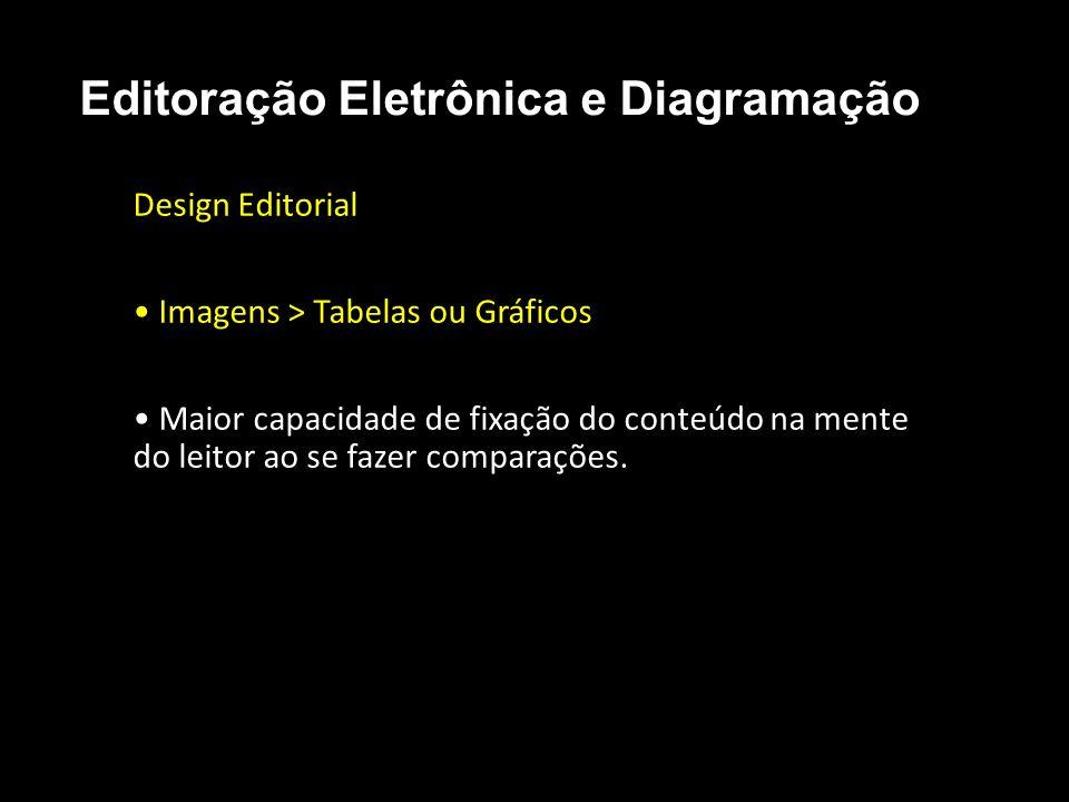 Editoração Eletrônica e Diagramação Design Editorial Imagens > Tabelas ou Gráficos Maior capacidade de fixação do conteúdo na mente do leitor ao se fa