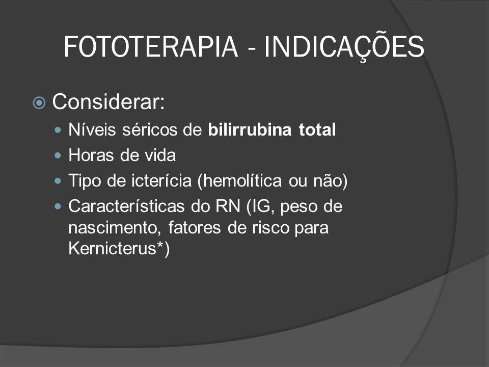 FOTOTERAPIA - INDICAÇÕES Considerar: Níveis séricos de bilirrubina total Horas de vida Tipo de icterícia (hemolítica ou não) Características do RN (IG, peso de nascimento, fatores de risco para Kernicterus*)