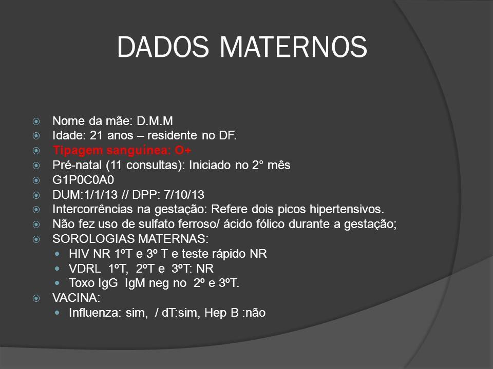 DADOS MATERNOS Nome da mãe: D.M.M Idade: 21 anos – residente no DF. Tipagem sanguínea: O+ Pré-natal (11 consultas): Iniciado no 2° mês G1P0C0A0 DUM:1/