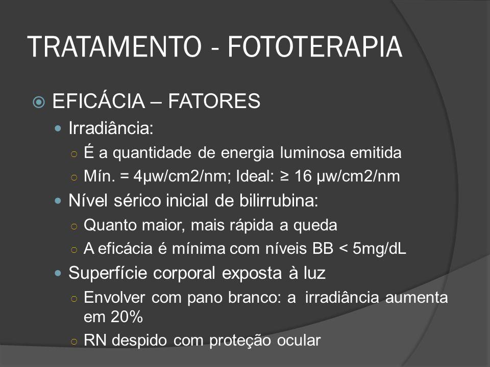 TRATAMENTO - FOTOTERAPIA EFICÁCIA – FATORES Irradiância: É a quantidade de energia luminosa emitida Mín. = 4µw/cm2/nm; Ideal: 16 µw/cm2/nm Nível séric