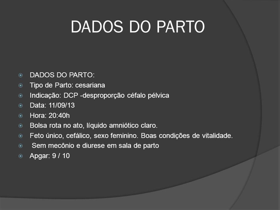 DADOS DO PARTO DADOS DO PARTO: Tipo de Parto: cesariana Indicação: DCP -desproporção céfalo pélvica Data: 11/09/13 Hora: 20:40h Bolsa rota no ato, líquido amniótico claro.