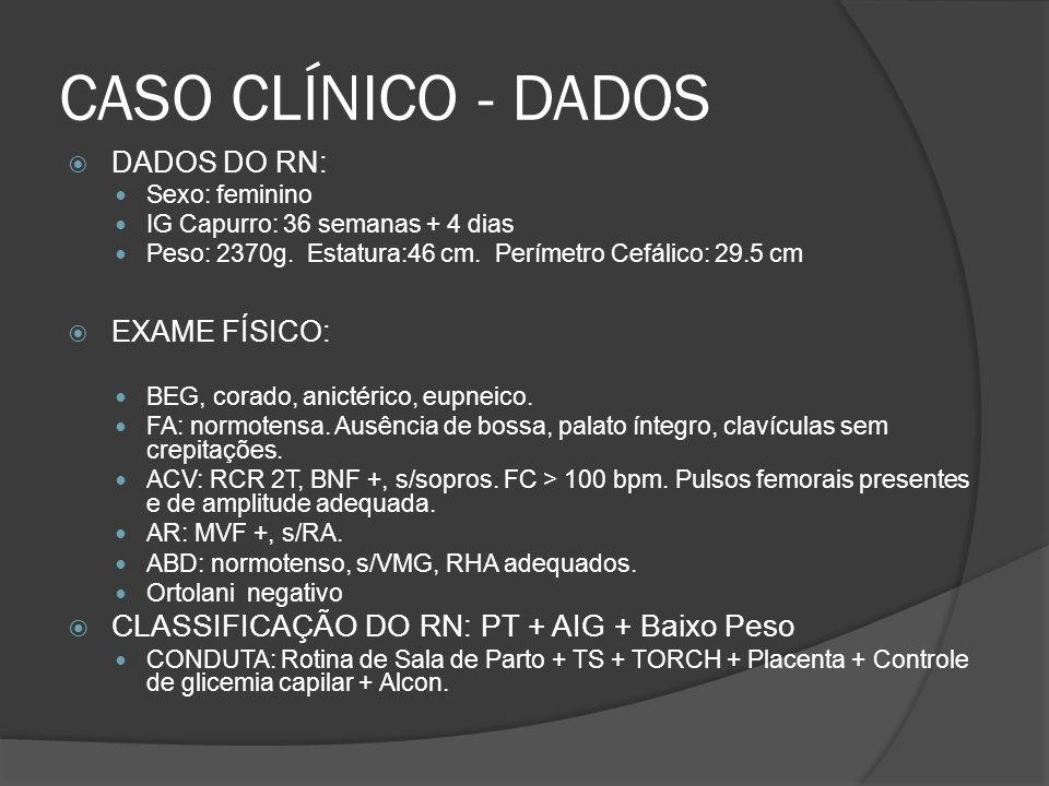 CASO CLÍNICO - DADOS DADOS DO RN: Sexo: feminino IG Capurro: 36 semanas + 4 dias Peso: 2370g.