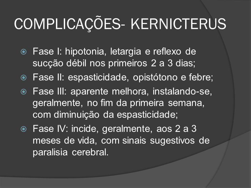 COMPLICAÇÕES- KERNICTERUS Fase I: hipotonia, letargia e reflexo de sucção débil nos primeiros 2 a 3 dias; Fase II: espasticidade, opistótono e febre; Fase III: aparente melhora, instalando-se, geralmente, no fim da primeira semana, com diminuição da espasticidade; Fase IV: incide, geralmente, aos 2 a 3 meses de vida, com sinais sugestivos de paralisia cerebral.