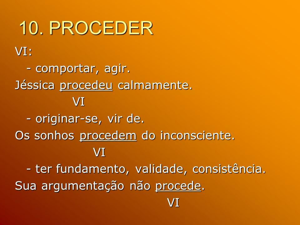 10. PROCEDER VI: - comportar, agir. Jéssica procedeu calmamente. VI VI - originar-se, vir de. Os sonhos procedem do inconsciente. VI VI - ter fundamen