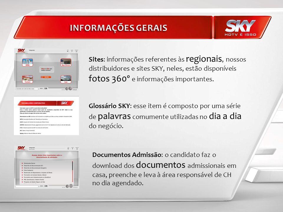 Glossário SKY: esse item é composto por uma série de palavras comumente utilizadas no dia a dia do negócio. Sites: informações referentes às regionais