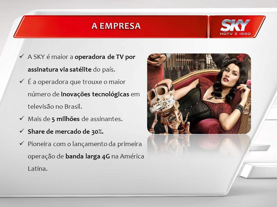 A SKY é maior a operadora de TV por assinatura via satélite do país. É a operadora que trouxe o maior número de inovações tecnológicas em televisão no