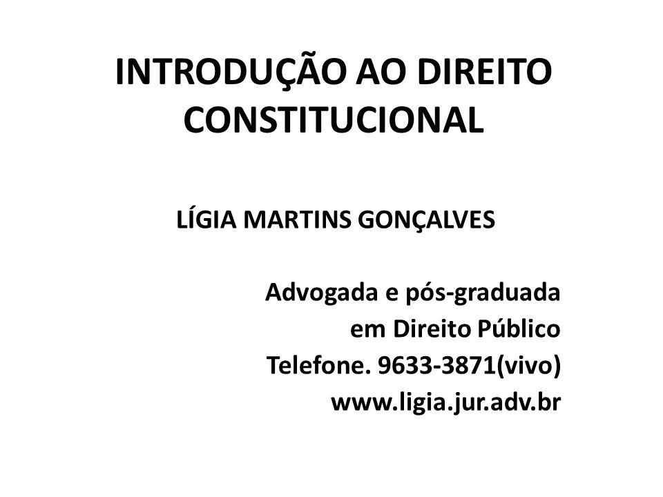 INTRODUÇÃO AO DIREITO CONSTITUCIONAL LÍGIA MARTINS GONÇALVES Advogada e pós-graduada em Direito Público Telefone.