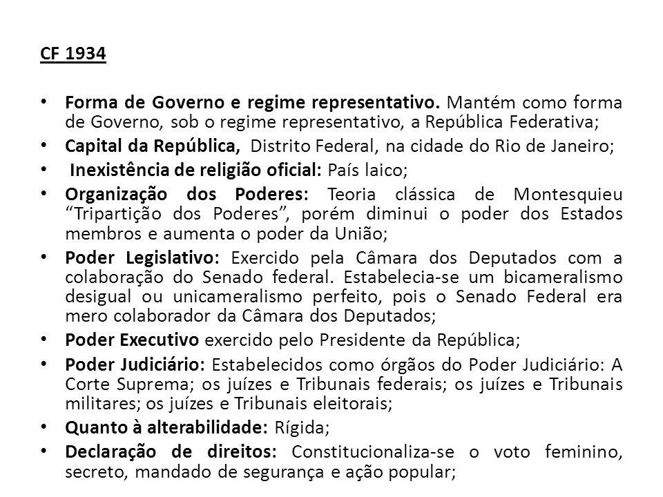CF 1934 Forma de Governo e regime representativo.