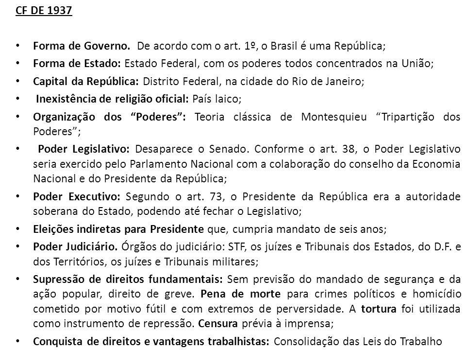 CF DE 1937 Forma de Governo.De acordo com o art.