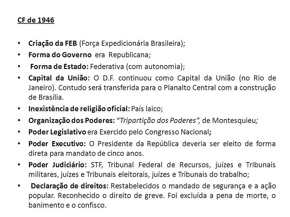 CF de 1946 Criação da FEB (Força Expedicionária Brasileira); Forma do Governo era Republicana; Forma de Estado: Federativa (com autonomia); Capital da União: O D.F.