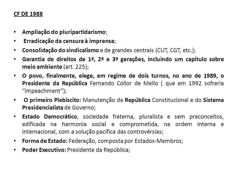 CF DE 1988 Ampliação do pluripartidarismo; Erradicação da censura à imprensa; Consolidação do sindicalismo e de grandes centrais (CUT, CGT, etc.); Garantia de direitos de 1ª, 2ª e 3ª gerações, incluindo um capítulo sobre meio ambiente (art.