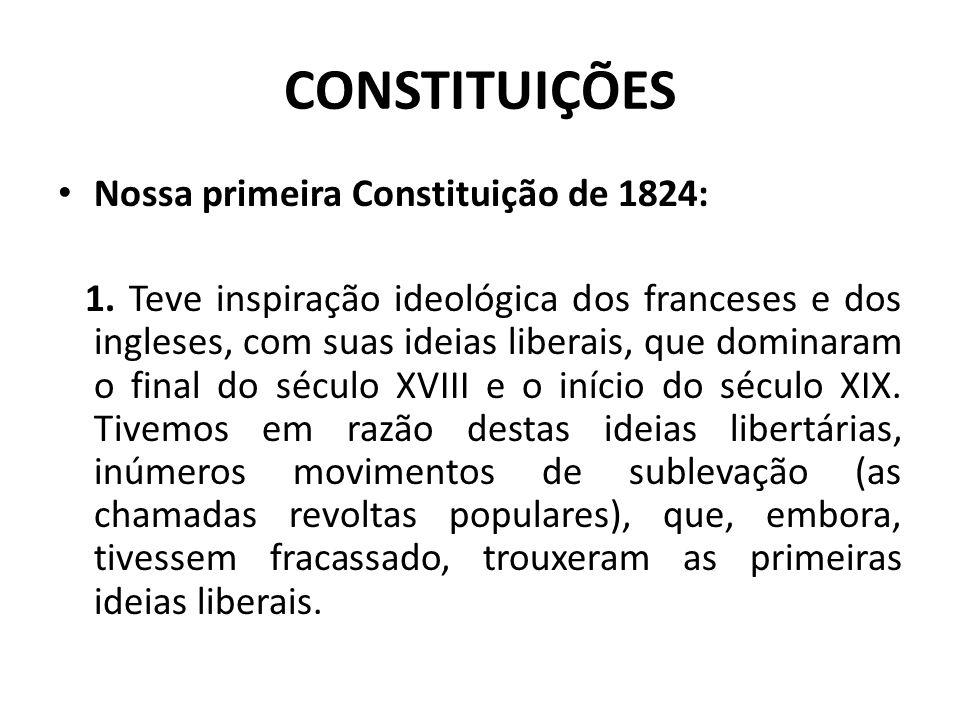 CONSTITUIÇÕES Nossa primeira Constituição de 1824: 1.