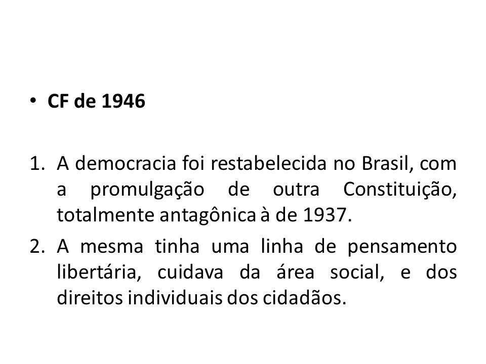 CF de 1946 1.A democracia foi restabelecida no Brasil, com a promulgação de outra Constituição, totalmente antagônica à de 1937.