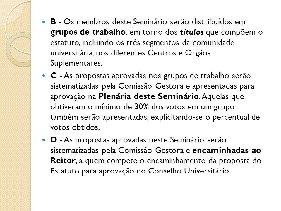 B - Os membros deste Seminário serão distribuídos em grupos de trabalho, em torno dos títulos que compõem o estatuto, incluindo os três segmentos da comunidade universitária, nos diferentes Centros e Órgãos Suplementares.