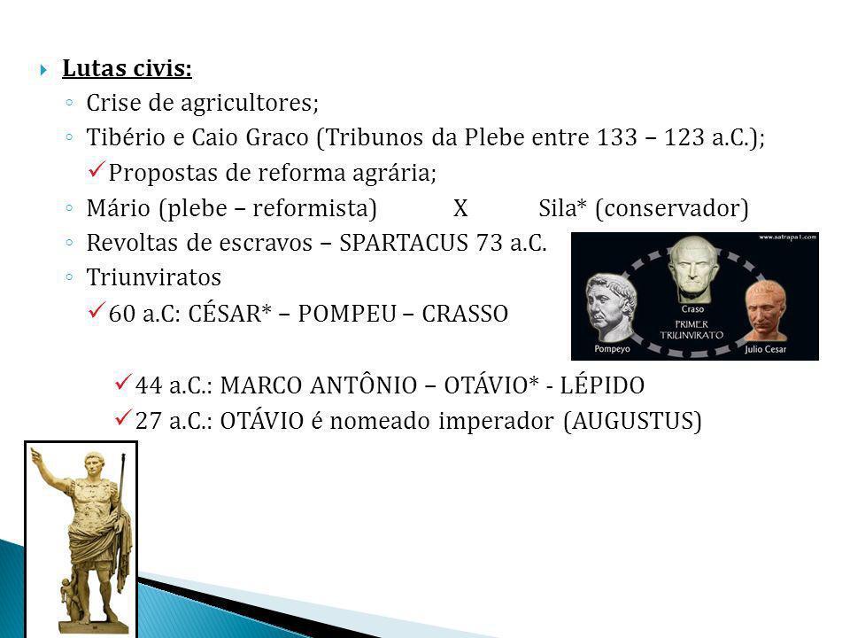 Lutas civis: Crise de agricultores; Tibério e Caio Graco (Tribunos da Plebe entre 133 – 123 a.C.); Propostas de reforma agrária; Mário (plebe – reform