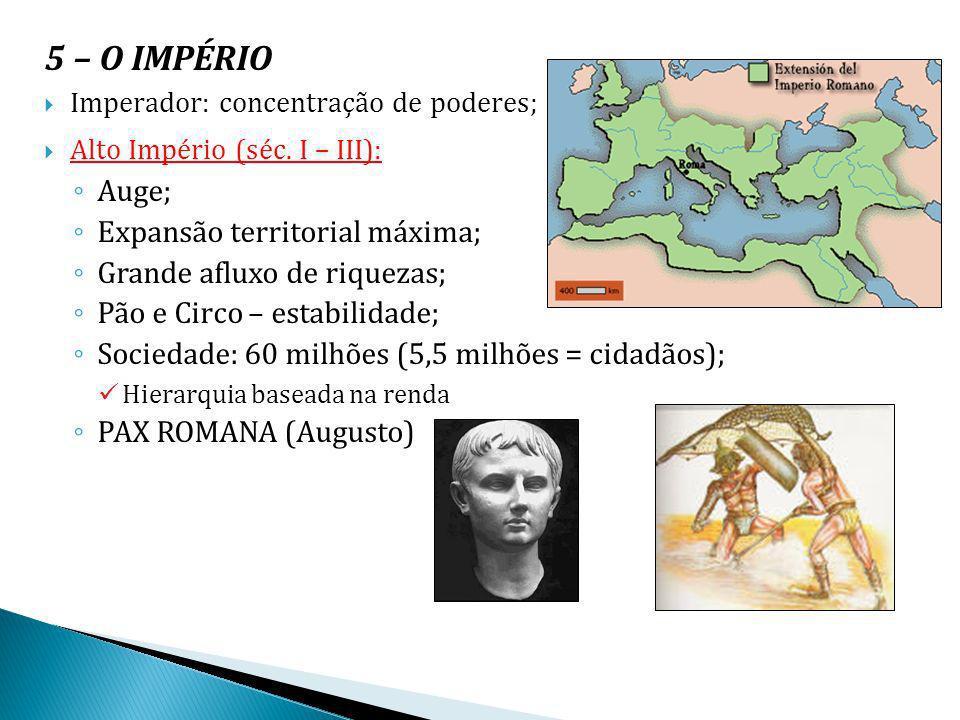 5 – O IMPÉRIO Imperador: concentração de poderes; Alto Império (séc. I – III): Auge; Expansão territorial máxima; Grande afluxo de riquezas; Pão e Cir