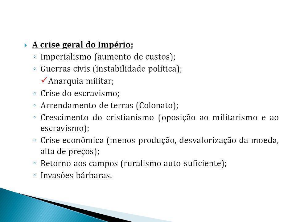A crise geral do Império; Imperialismo (aumento de custos); Guerras civis (instabilidade política); Anarquia militar; Crise do escravismo; Arrendament