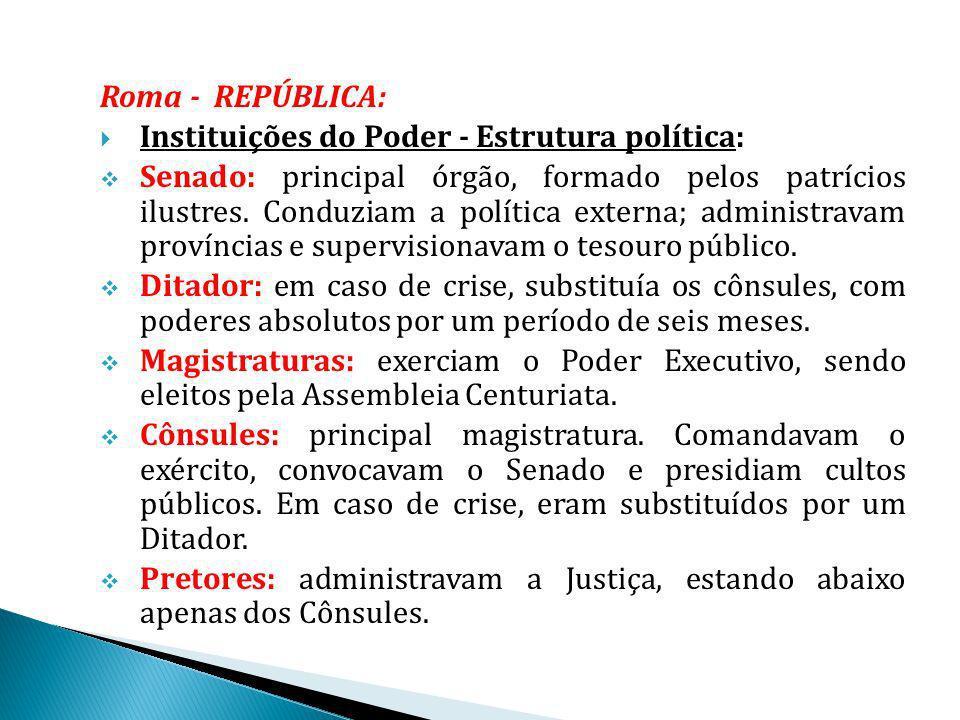 Roma - REPÚBLICA: Instituições do Poder - Estrutura política: Senado: principal órgão, formado pelos patrícios ilustres. Conduziam a política externa;