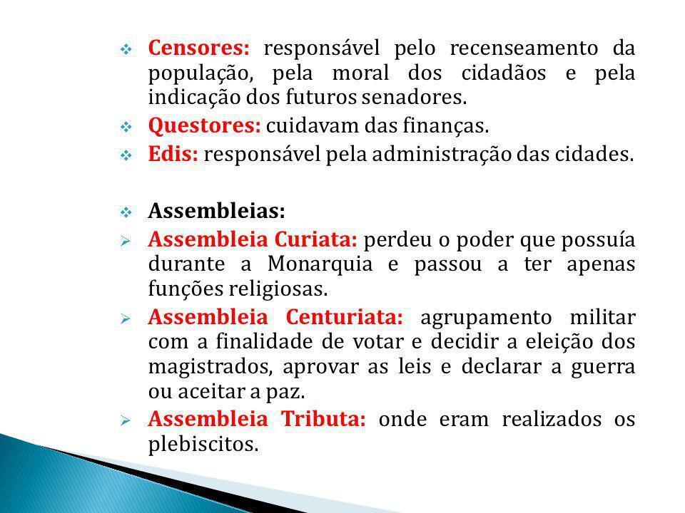 Censores: responsável pelo recenseamento da população, pela moral dos cidadãos e pela indicação dos futuros senadores. Questores: cuidavam das finança