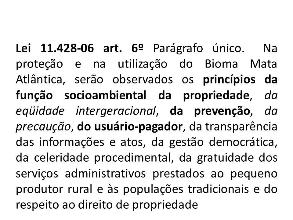 Lei 11.428-06 art. 6º Parágrafo único. Na proteção e na utilização do Bioma Mata Atlântica, serão observados os princípios da função socioambiental da