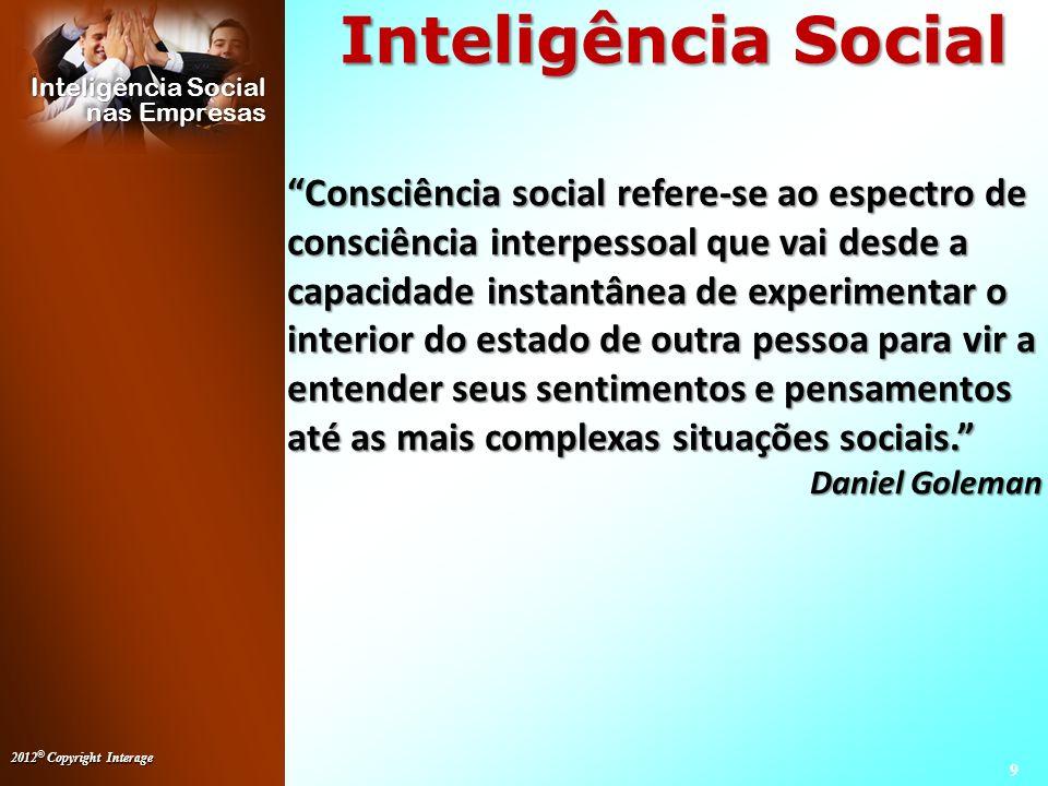 2012 © Copyright Interage 10 Inteligência Social nas Empresas Inteligência Social Inteligência Social (11/jan/2011) A arte de se relacionar.