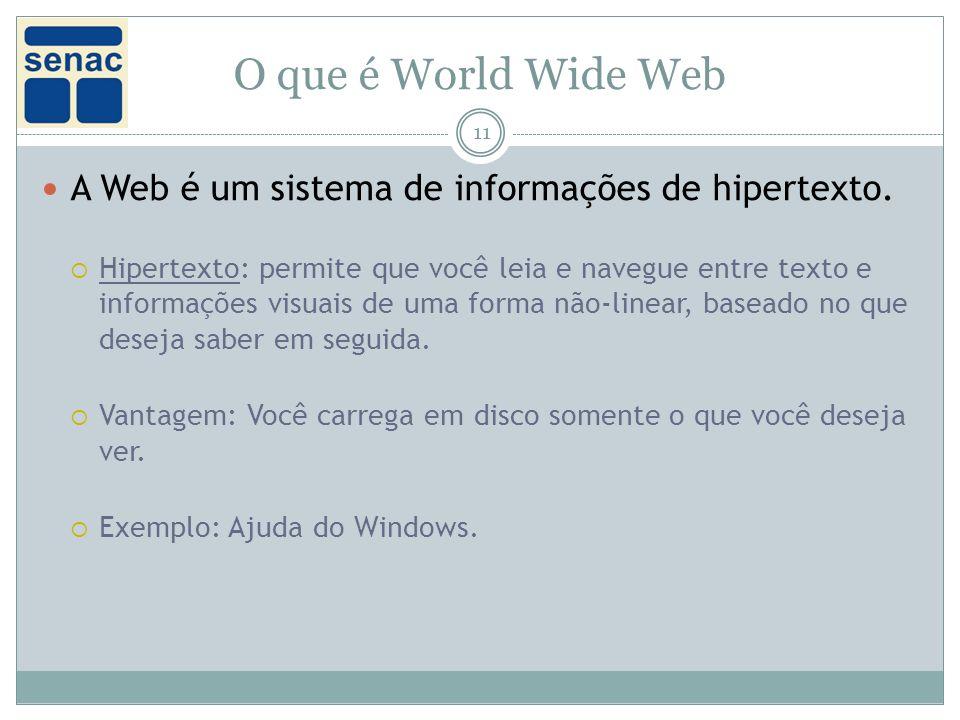 O que é World Wide Web 11 A Web é um sistema de informações de hipertexto.