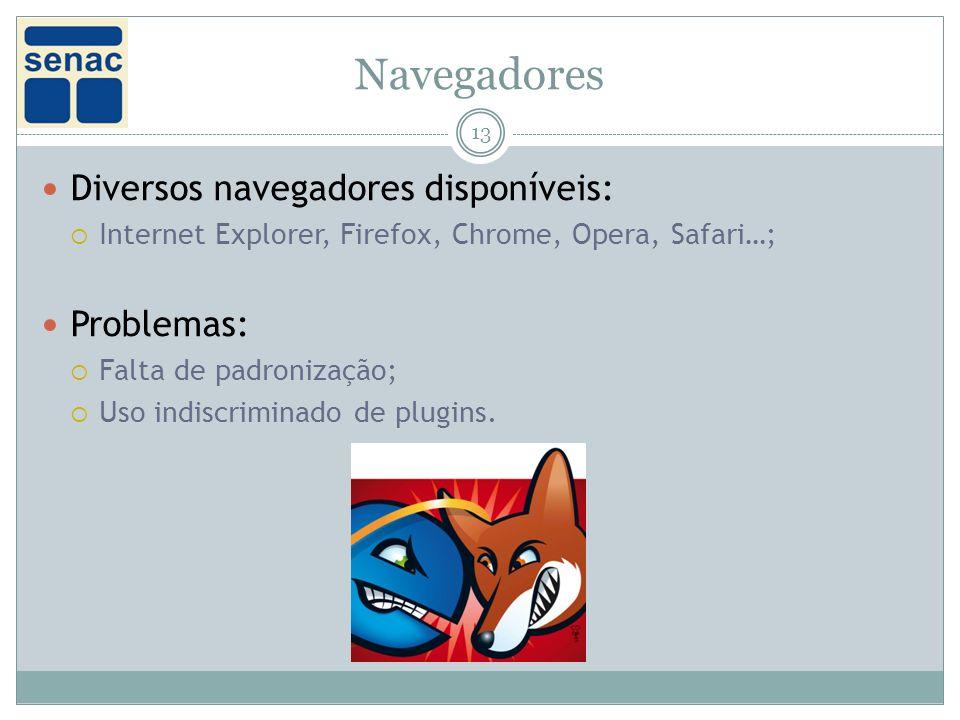 Navegadores 13 Diversos navegadores disponíveis: Internet Explorer, Firefox, Chrome, Opera, Safari…; Problemas: Falta de padronização; Uso indiscriminado de plugins.