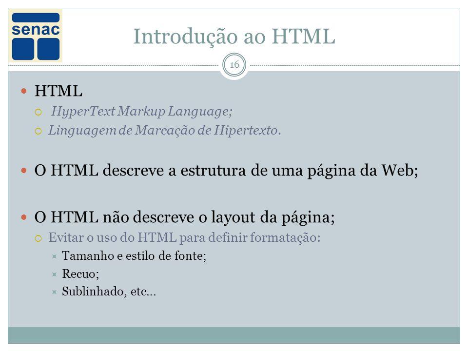 Introdução ao HTML 16 HTML HyperText Markup Language; Linguagem de Marcação de Hipertexto.
