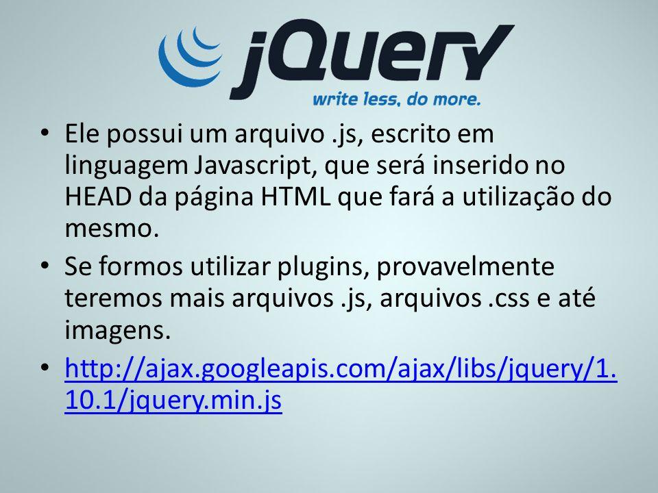 Ele possui um arquivo.js, escrito em linguagem Javascript, que será inserido no HEAD da página HTML que fará a utilização do mesmo. Se formos utilizar