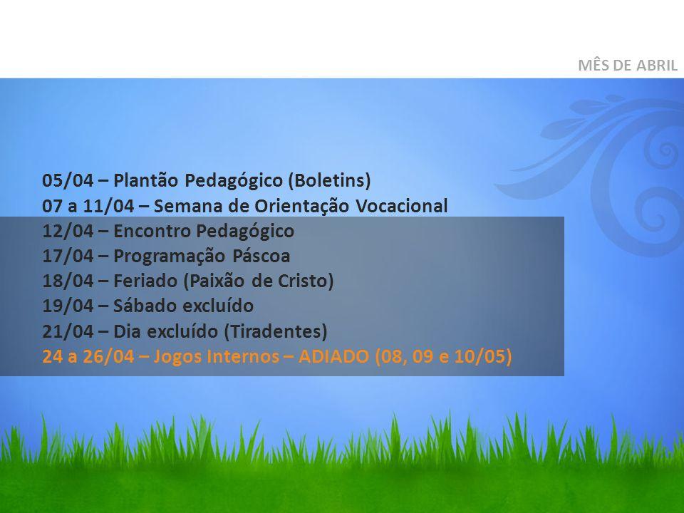 MÊS DE ABRIL 05/04 – Plantão Pedagógico (Boletins) 07 a 11/04 – Semana de Orientação Vocacional 12/04 – Encontro Pedagógico 17/04 – Programação Páscoa