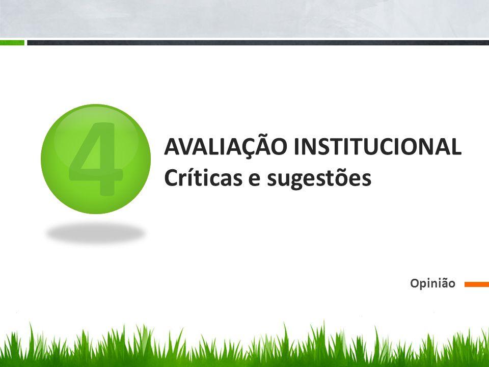 4 AVALIAÇÃO INSTITUCIONAL Críticas e sugestões Opinião